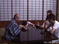 Old and Young, Asian, Blowjob, Couple, Cowgirl, Doggystyle
