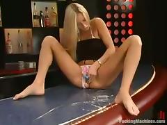 Horny blondie loves pumping her tits on a fucking machine