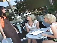 Blonde Girlfriends Meet a Brunette For a Lesbian Threesome