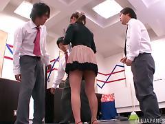 Miniskirt, Asian, Blowjob, Cum in Mouth, Cumshot, Facial