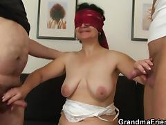 blindfolded granny tastes a handful of cocks porn video