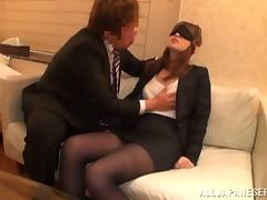 Blindfolded Anri Oonuki Gets Their way Pantyhose Torn increased by Their way Pussy Fucked porn video
