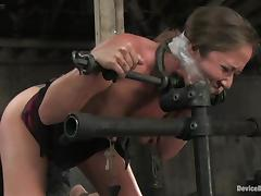 Two bounded girls drag inflate dildos and win toyed far both holes