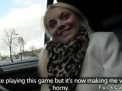 Substandard blonde fucks in a fake taxi-cub