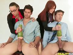 CFNM, Blowjob, Brunette, CFNM, Doggystyle, Foursome