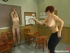 Two busty college girls are torturing their classmate