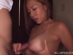 Busty Japanese milf Ruri Saijoh milks a cock dry into her mouth