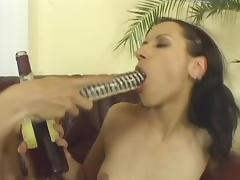 Hot chicks drink cognac and toy pussies with a double dong porn video