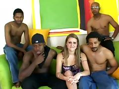 Extreme Babe And Four Black Guys In Gangbang Sex Video