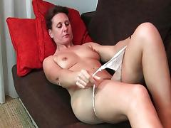 Granny gets his fingers up her hairy pussy