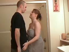 Pretty amateur babe gives great blowjob in a bathroom