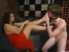 Jamie allows Mika Tan bind him and destroy his ass with a strapon