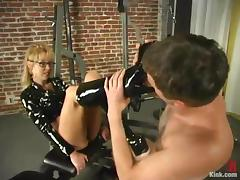 Lewd mistress Janay enjoys humiliating Wild Bill in a basement