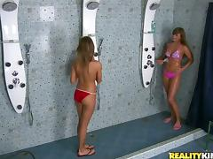 Two nasty girls enjoy foursome sex in a public bathroom