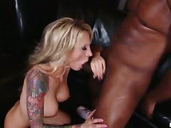 Tattooed Abigale Johnson gets rammed in interracial video