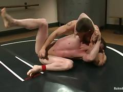 Two fags are wrestling naked and fucking