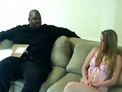 This interracial fuck session has a cute white bitch taking on a big black stud