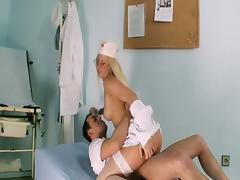 Blonde nurse knows how to treat her sick patient.