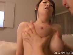 Busty Japanese milf Mio Sakuragi gives a fantastic titjob to some dude