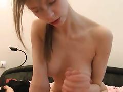 My busty girlfriend sucking my penis