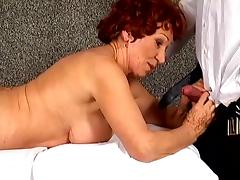 Redhead granny Blanche gets fucked hard after enjoying massage
