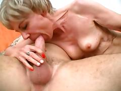 Thin Granny Screams Loud While She Rides That Stiff Cock