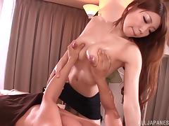Yuuka Minase gives a great oil massage with her big tits