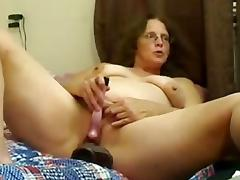 Hairy Mature Fucks Her Pussy With Big Toys