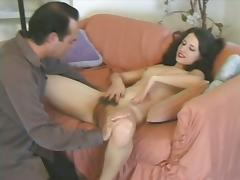 Titless brunette Lena Ramon gets her hairy snatch licked and fucked
