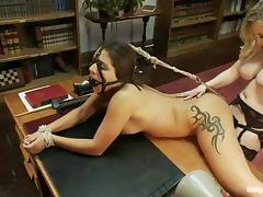 Sexy brunette coed gets punished by her female professor
