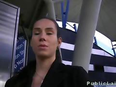 Busty brunette fucked and tits cummed in public