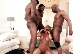 Stunning interracial gangbang with whitey cutie