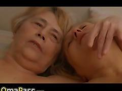 Two old Grannies masturbate together on the c