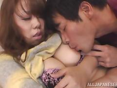 Busty Asian milf is eaten out and fucked