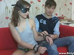 Blindfolded, Babe, Blindfolded, Brunette, Russian, Small Tits