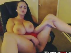 Busty woman masturbates in fron of webcam