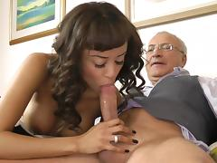 Old and Young, Blowjob, Interracial, Lingerie, Riding, Stockings