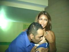 Sassy Latina college chick is circling around his cock
