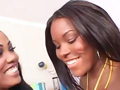 Two ebony babes nailed by a white dude