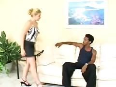 Naughty Blonde Gets Her Bare Ass Spanked by a Black Guy