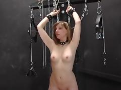 Blond thrall in stockingsgangbanged