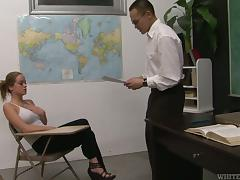 Nicole Heiress gives a blowjob to her Asian teacher