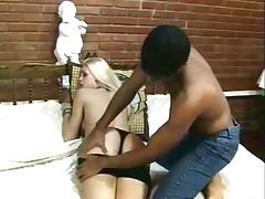 Beautiful blonde shemale gives guy a good fucking