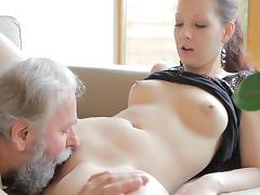 Cuckold, Blowjob, Cuckold, Old Man, Riding, Sofa
