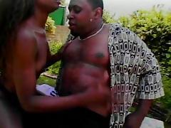 Ebony sucking the fat black cock