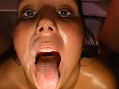Bukkake, Brunette, Bukkake, Cum in Mouth, Facial, Gangbang