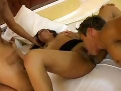 Brunette receives cunnilingus and two rods in her holes porn video