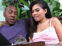 Asian babe Cindy Starfall sucks a BBC and gets her pussy smashed