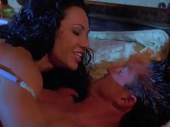 Exotica the curly MILF gets banged at night in a bedroom