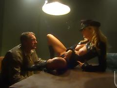 A smoking hot police officer is giving him the hottest interrogations porn video